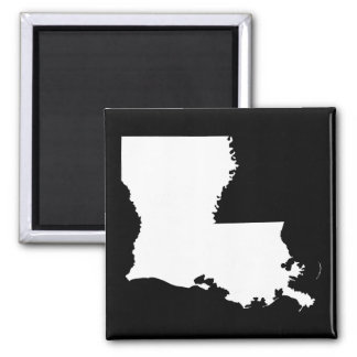 Louisiana in White and Black 2 Inch Square Magnet