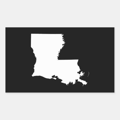 Louisiana in White and Black Rectangular Stickers