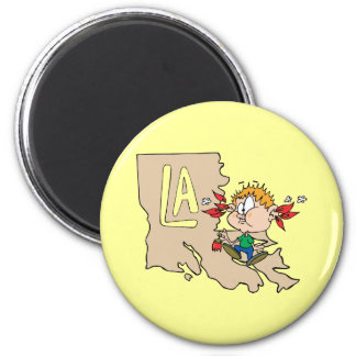 Louisiana LA Map & Cajun Food Cartoon Art Motto 2 Inch Round Magnet