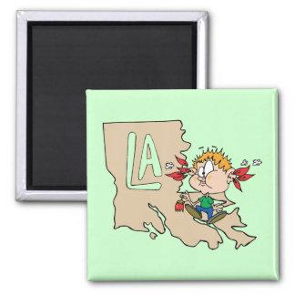 Louisiana LA Map & Cajun Food Cartoon Art Motto 2 Inch Square Magnet