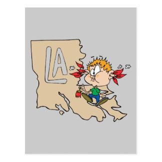Louisiana LA Map & Cajun Food Cartoon Art Motto Postcard