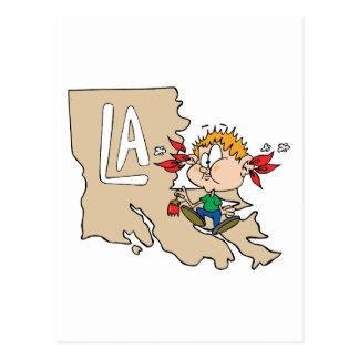 Louisiana LA Map & Cajun Food Cartoon Art Motto Post Card