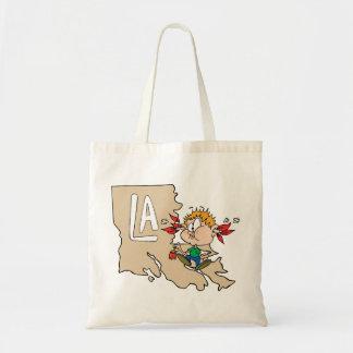 Louisiana LA Map & Cajun Food Cartoon Art Motto Tote Bag