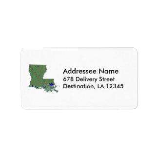 Louisiana Map Address Label