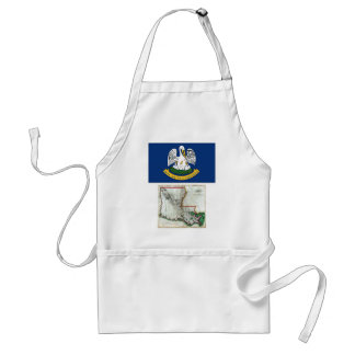 Louisiana Map and State Flag Aprons