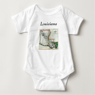 Louisiana Map and State Flag Baby Bodysuit