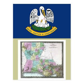 Louisiana Map and State Flag Postcard