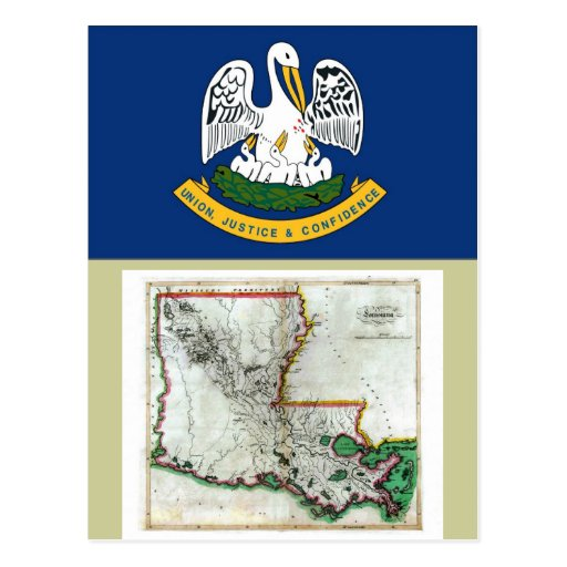 Louisiana Map and State Flag Postcards