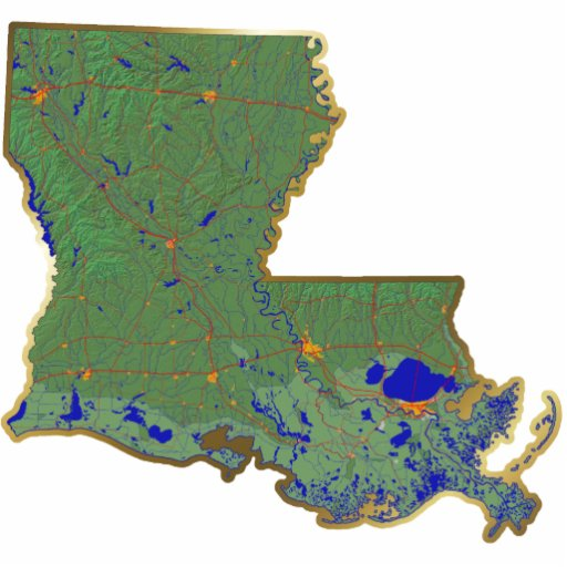 Louisiana Map Magnet Cut Out