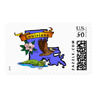 Louisiana Map Postage