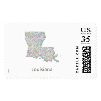 Louisiana map postage stamps