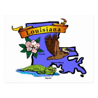 Louisiana Map Postcard