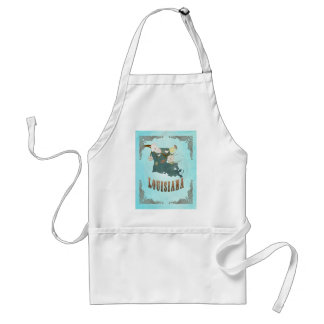Louisiana Map With Lovely Birds Adult Apron
