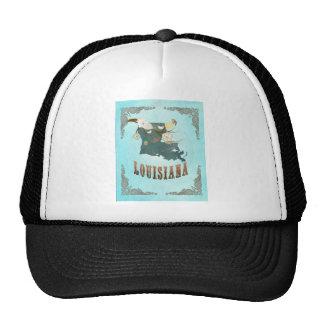 Louisiana Map With Lovely Birds Trucker Hat