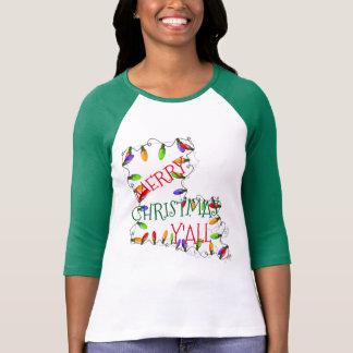 louisiana merry christmas y'all lights t-shirt