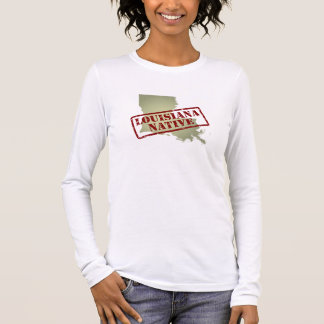 Louisiana Native Stamped on Map Long Sleeve T-Shirt