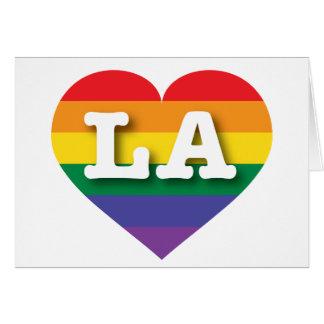 Louisiana or Los Angeles Gay Pride Rainbow Heart Card