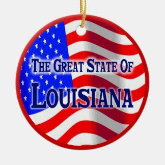 Louisiana Double-Sided Ceramic Round Christmas Ornament