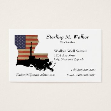 USA Themed Louisiana Patriotic Oil Drilling Rig Business Card