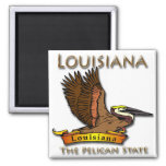 Louisiana Pelican State Pelican 2 Inch Square Magnet