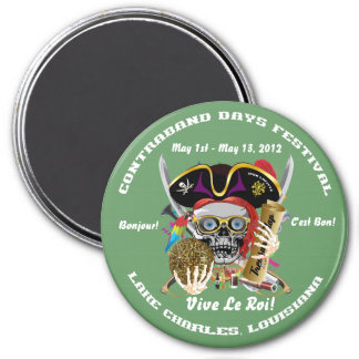 Louisiana Pirate Contraband Days 30 Colors 3 Inch Round Magnet