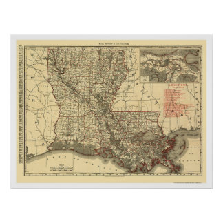 Louisiana Railroad Map 1896 Posters