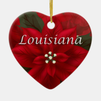 Louisiana Red Poinsettia Heart  Keepsake Ornament