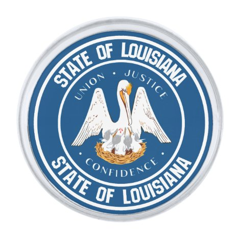 Louisiana Round Emblem Silver Finish Lapel Pin
