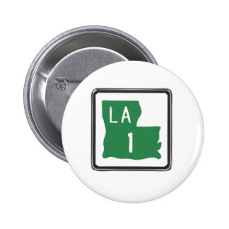 Louisiana Route 1 (One) Road Trip Travel Sign Pinback Button