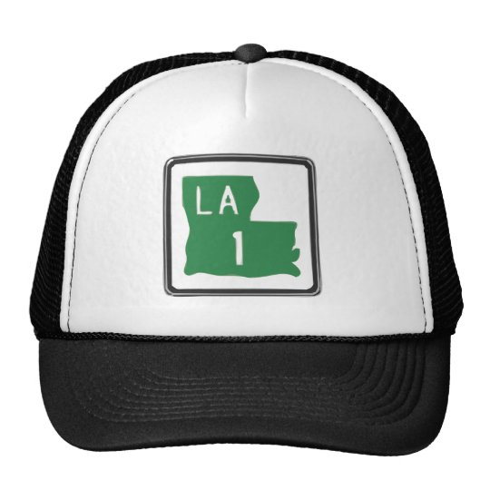 Louisiana Route 1 (One) Road Trip Travel Sign Trucker Hat