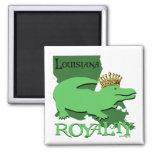 Louisiana Royalty (green gator) 2 Inch Square Magnet