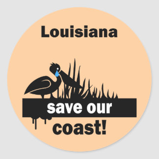 Louisiana save our coast classic round sticker