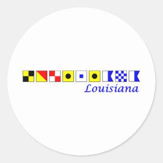 Louisiana spelled in nautical flag alphabet classic round sticker
