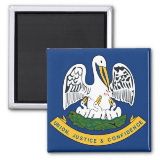 Louisiana State Flag 2 Inch Square Magnet