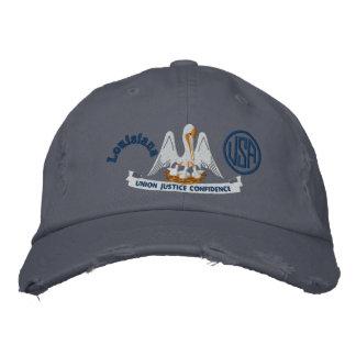 Louisiana State Flag Design Embroidered Baseball Hat