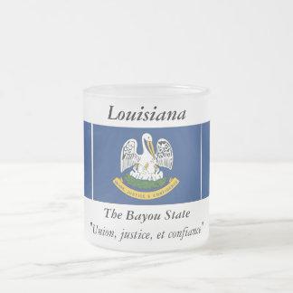 Louisiana State Flag Frosted Glass Coffee Mug