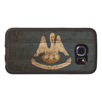 Louisiana State Flag on Old Wood Grain Wood Phone Case