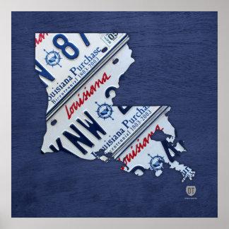 Louisiana State License Plate Map Print