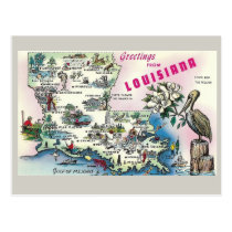 Louisiana State Map Postcard