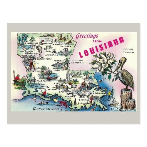 Louisiana State Map Postcard