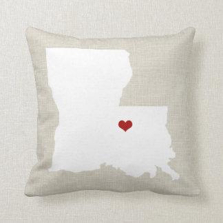 Louisiana State Pillow Faux Linen Personalized