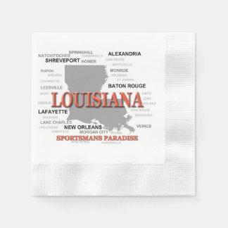 Louisiana State Pride Map Silhouette Disposable Napkins