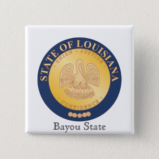 Louisiana State Seal and Motto Pinback Button