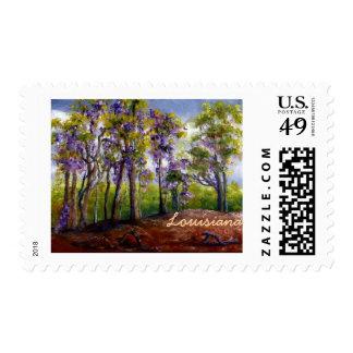 Louisiana Trees and Wisteria Postage Stamp