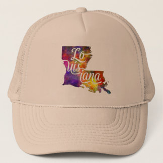 Louisiana U.S. State in watercolor text cut out Trucker Hat