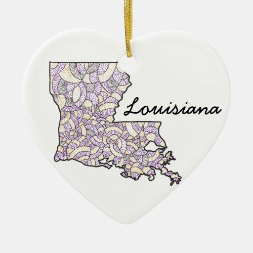 Louisiana United States Illustrated Heart Ornament