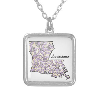 Louisiana United States Original Art Illustration Silver Plated Necklace