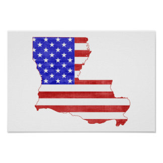 Louisiana USA silhouette state map Poster