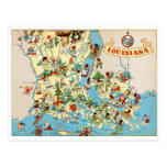 Louisiana Vintage Map Postcard