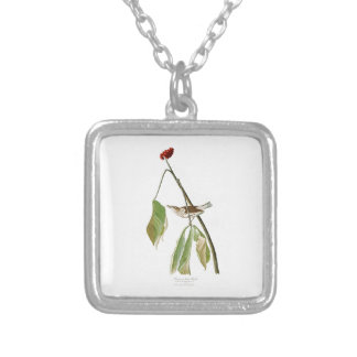 Louisiana Water Thrush John Audubon Birds America Square Pendant Necklace